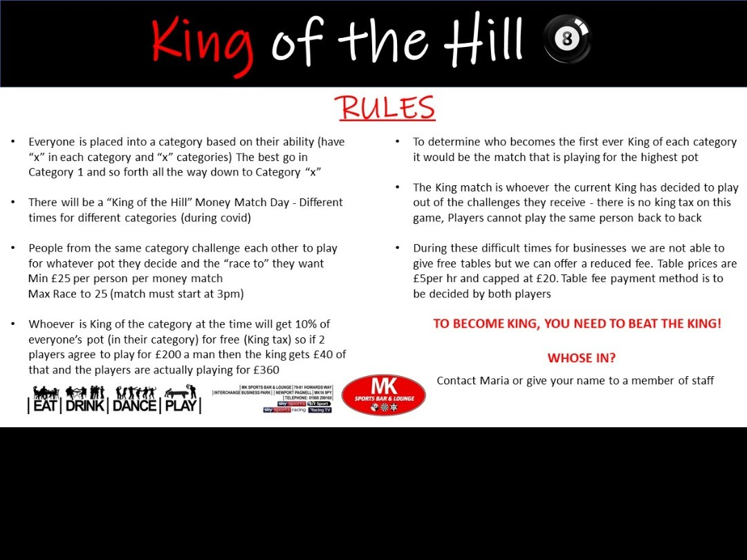 New Pool Comp - King of the Hill