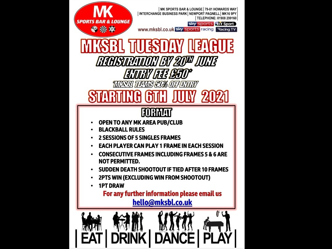 ***NEW*** Tuesday BB League Starting 6th July 2021