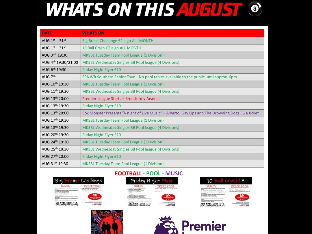 ***CUSTOMER NOTICE*** - Whats On in August