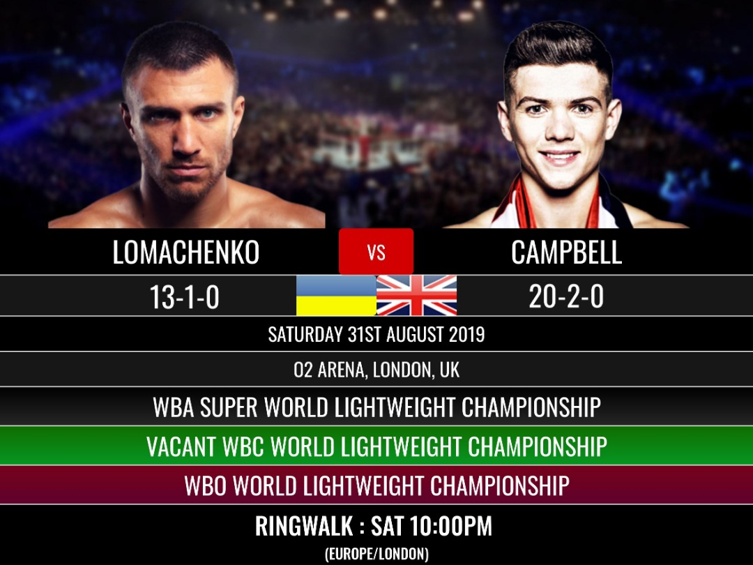 Lomachenko v Campbell 31st August 10PM