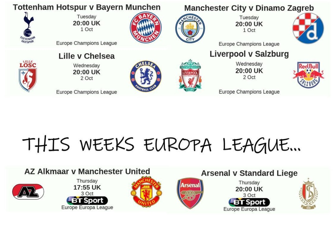 This weeks Champions League and Europa at MKSBL