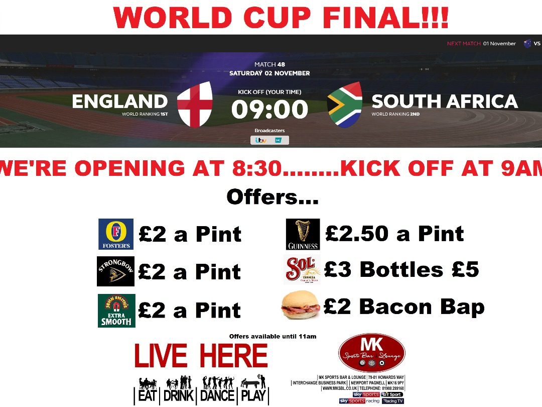 England v South Africa World Cup Final 2nd Nov 9AM KO
