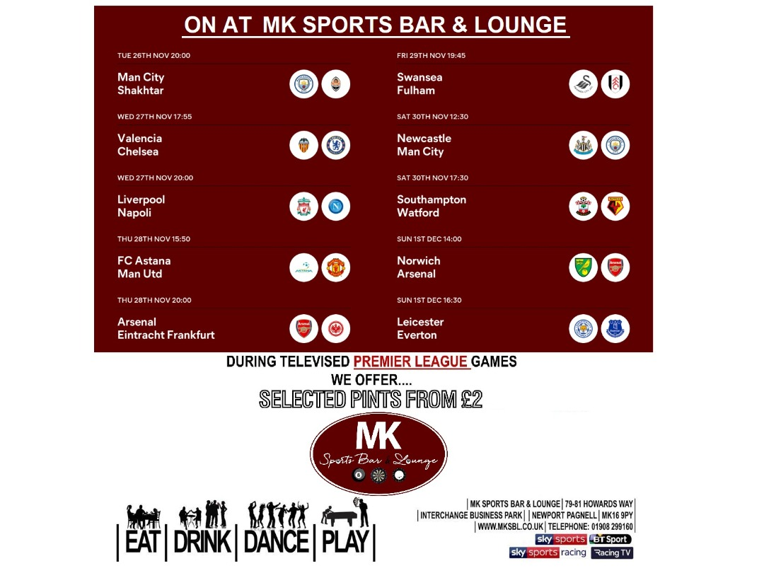 This Weeks Football Fixtures On At Mksbl Mk Sports Bar And Lounge