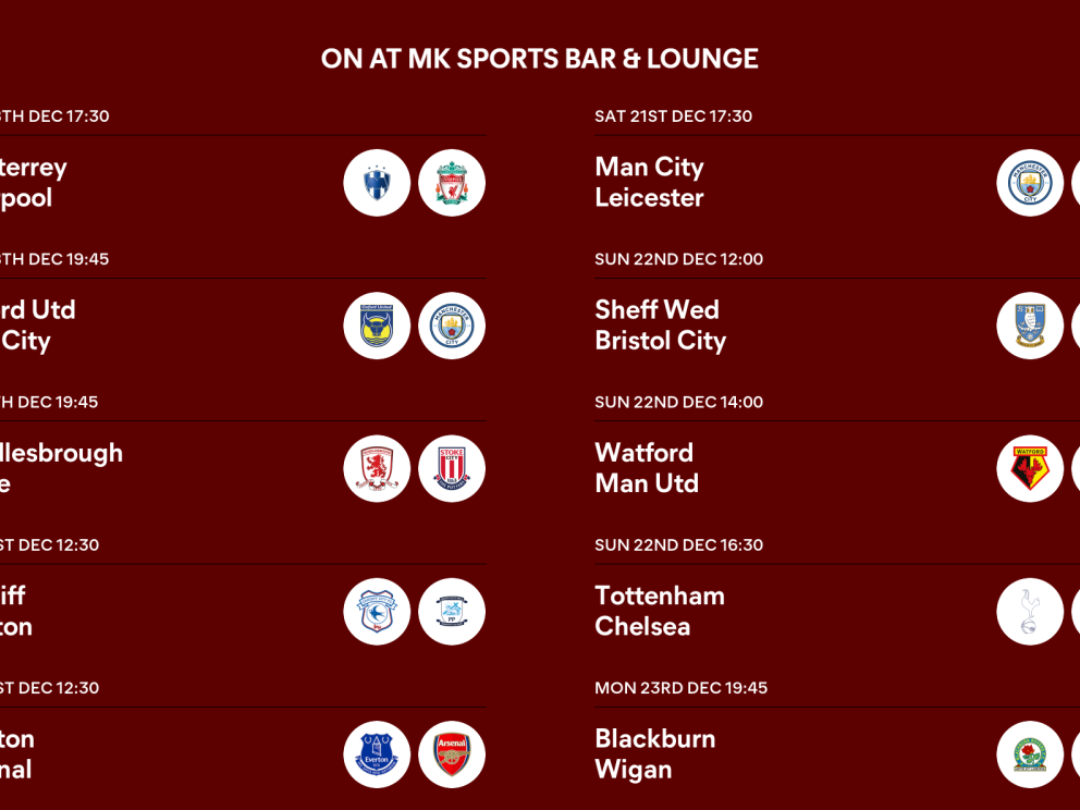 This weeks football fixtures being shown at MK Sports Bar & Lounge