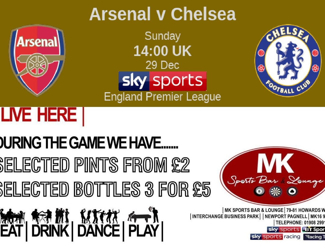 Sunday 29th Live Games are....