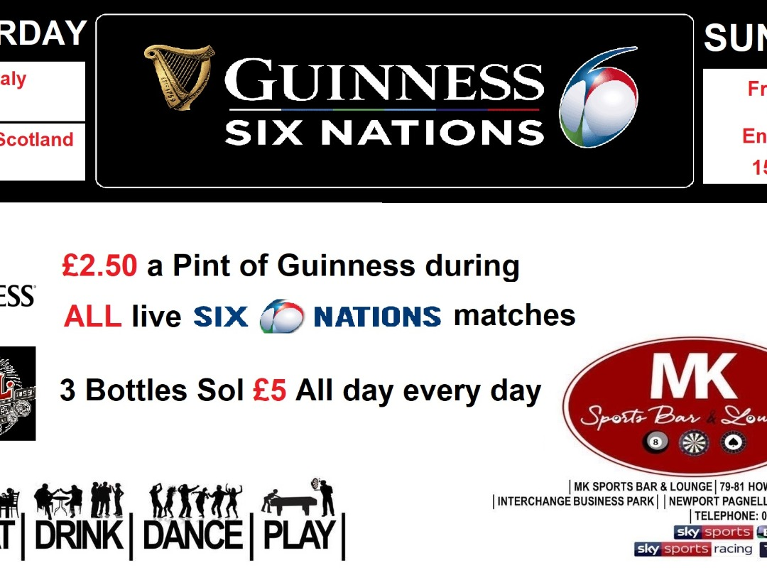 SIX NATIONS Starts tomorrow - £2.50 a Pint of Guinness